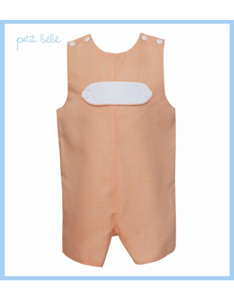 Petit Bebe Petit Bebe Orange Mini Check Shortall