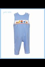 Petit Bebe Petit Bebe Noah's Ark Long Jon Jon Royal Blue Stripe Knit