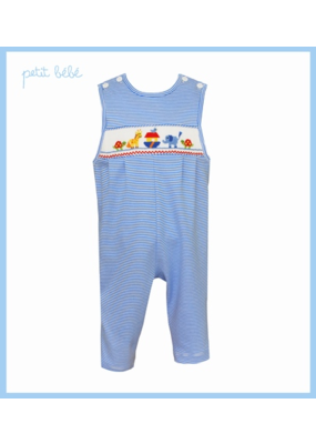 Petit Bebe Petit Bebe Noah's Ark Long Jon Jon Royal Blue Stripe Knit
