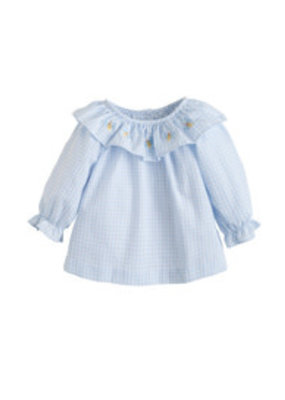 Little English Little English Bee Grand Bespoke Light Blue Gingham Blouse