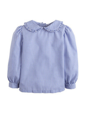Little English Little English Ruffled Peter Pan Blouse in Light Blue Gingham