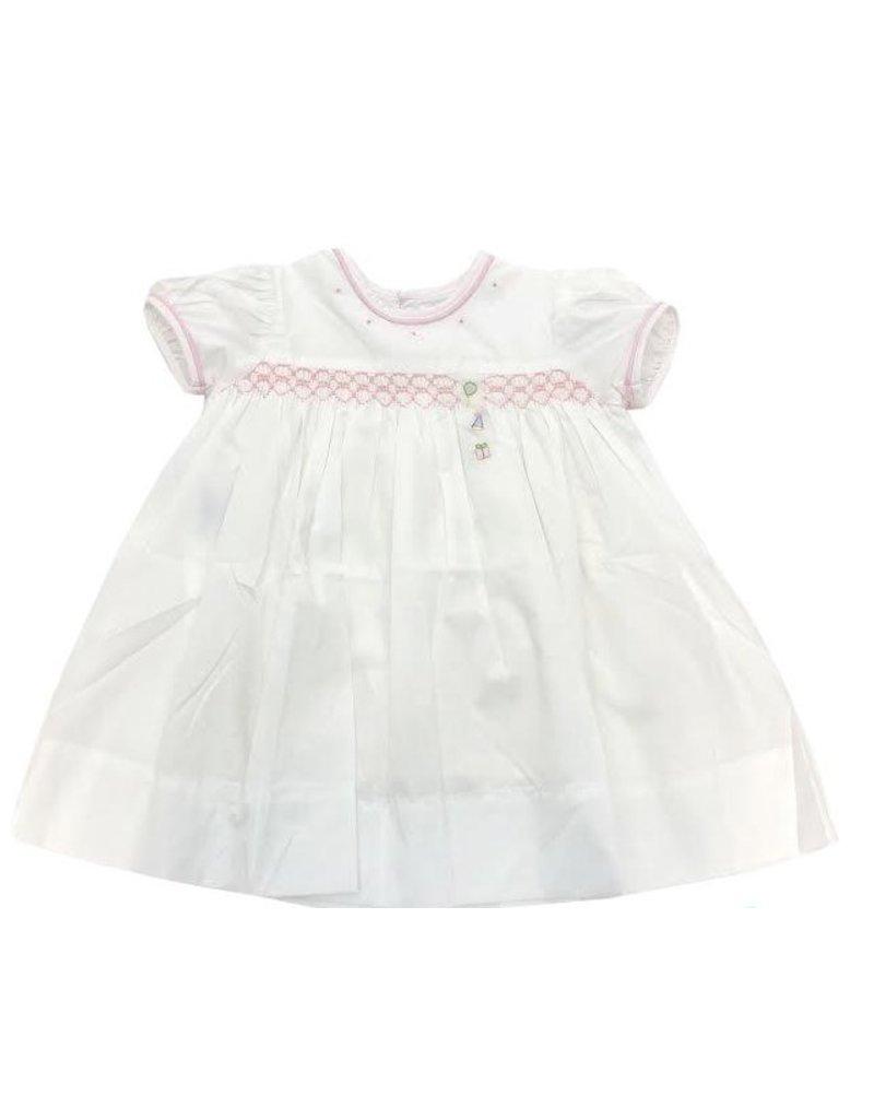 Lullaby Set Lullaby Set Birthday Dress Balloon/Hat/Present W/Pink Smocking