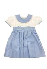 Lullaby Set The Lullaby Set Blue Microcheck w/ Green & Blue Flower Monogram Dress