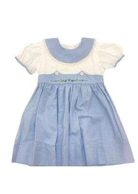 Lullaby Set The Lullaby Set Blue Microcheck w/ Green & Blue Flower Monogram Dress