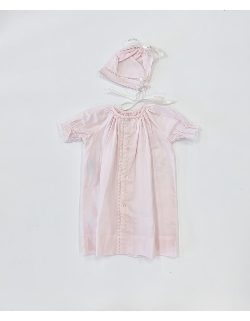 Lullaby Set Lullaby Set Pink w/White Embroid Flower Daygown w/Hat