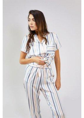 Pretty You London Multi Stripe Polysatin Trouser