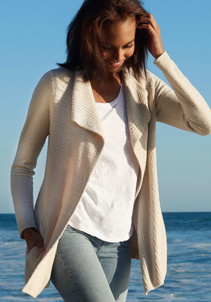 Barefoot Dreams Cozychic Lite Coastal Cardi in Bisque