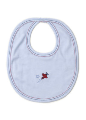 Kissy Kissy Kissy Kissy Airplane Bib w/Hand Emb Light Blue