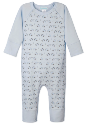 Feather Baby Feather Baby Sailor Sleeve Romper Doves on Baby Blue