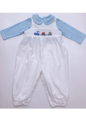 Lullaby Set Lullaby Set Longall - White Cord w Train Smock & Shirt