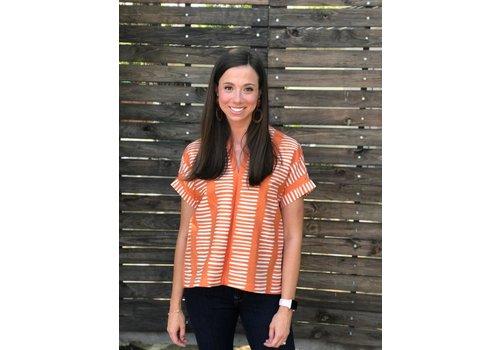 Brooke Wright Kimono Tunic Orange Ticking