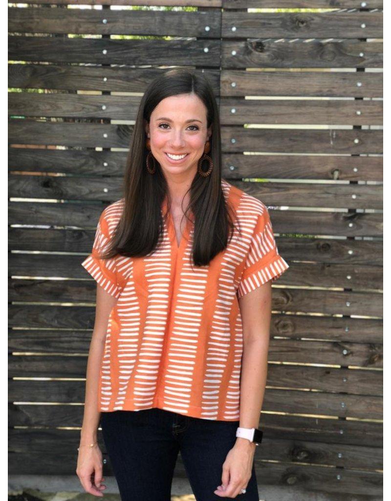 Brooke Wright Brooke Wright Kimono Tunic Orange Ticking