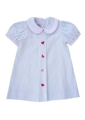 Lullaby Set Lullaby Set Blue Dot w Pink Ribbon and Heart Dress
