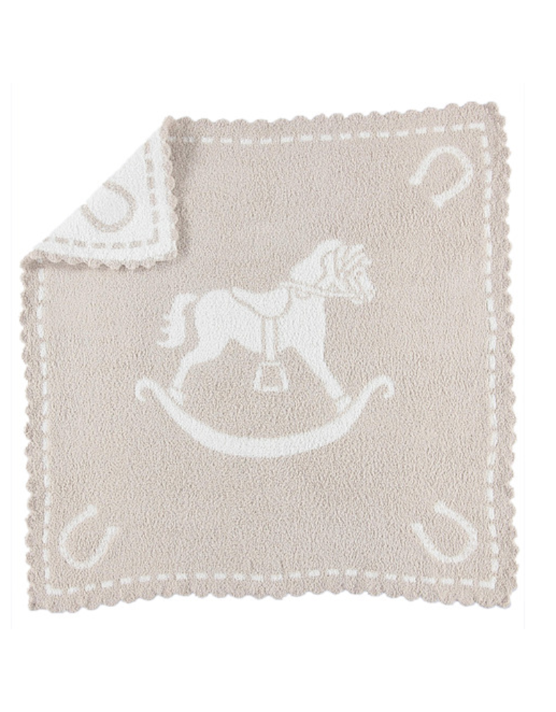 Barefoot Dreams Barefoot Dreams Scalloped Receiving Blanket Stone/White