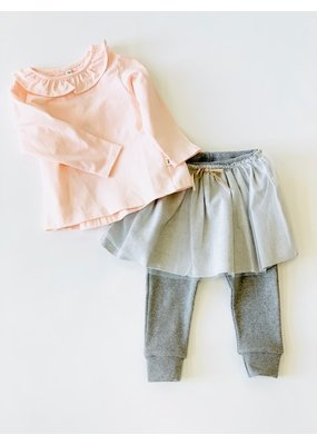 Petit Indi Petit Indi Pink T-Shirt & Gray Tule Legging Set