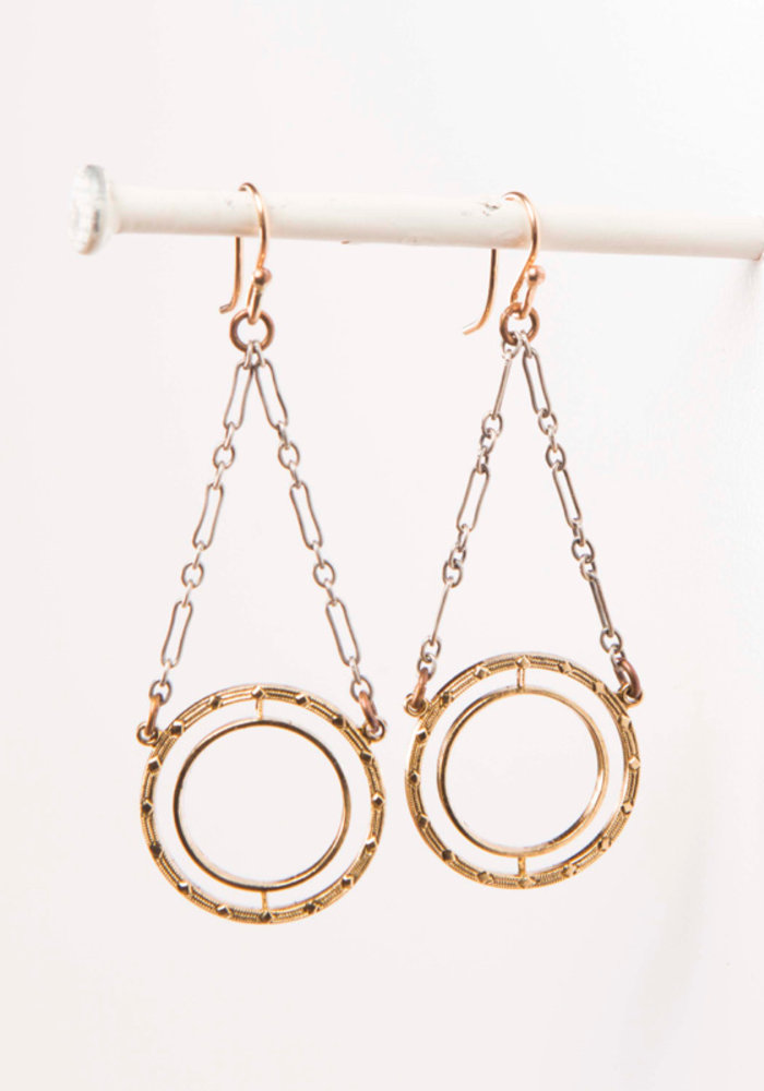 Mark Edge Vintage Circular Loop/Sterling Silver Earrings