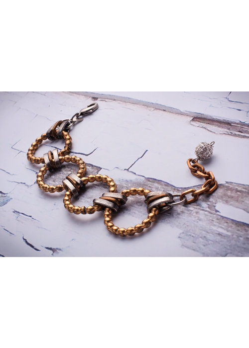 Mark Edge Mark Edge Vintage Bronze Bead Links/Pave Crystal bracelet/necklace
