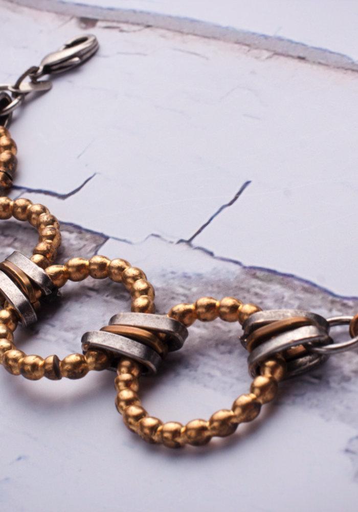 Mark Edge Vintage Bronze Bead Links/Pave Crystal bracelet/necklace