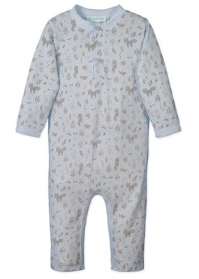Feather Baby Feather Baby Button Henley Romper Foxes & Bunnies on Baby Blue