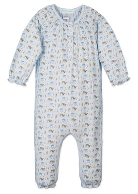 Feather Baby Feather Baby Ruched Romper - Floral Deer on Baby Blue