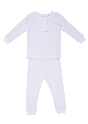 Lila and Hayes Lila and Hayes Alden 2 piece Girl Pajama Pink Little Lines
