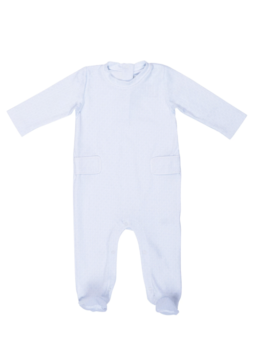 Lila and Hayes Lila and Hayes Preston Boy Footed romper Blue LIttle Lines