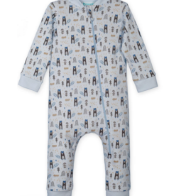 Feather Baby Feather Baby Zipper Romper Beaver on Baby Blue