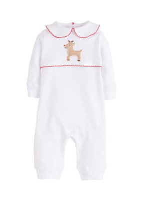 Little English Little English Reindeer Crochet Playsuit White