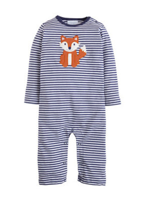 Little English Little English Fox Applique Romper Navy Blue Striped