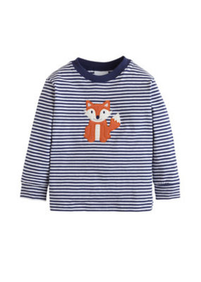 Little English Little English Fox Applique T-Shirt Navy Blue Stripe