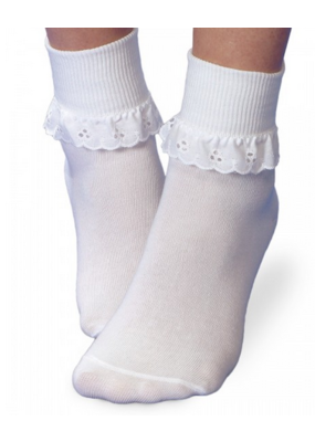 Jefferies Socks Jefferies Eyelet Lace Socks in White
