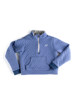 Prodoh Prohoh Boy's Quilted Pullover in Colony Blue/Gray Trim