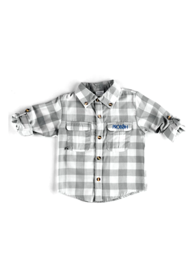 Prodoh Prodoh Boys Buffalo Check Button Down in Quiet Gray