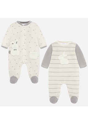 Mayoral Mayoral Bunny Grey & Cream 2 pack Footies