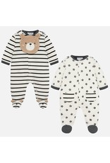 Mayoral Mayoral Boys Set of 2 Footies and Bib Bear/Stripes/Stars