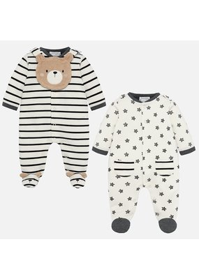 Mayoral Mayoral Boys Set of 2 Footies (Boy) and Bib Bear/Stripes/Stars