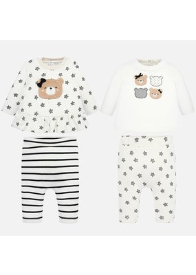 Mayoral Mayoral Girl 4 Piece Pant Knit Set Black/Gray/White  Star/Stripes