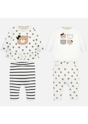 Mayoral Mayoral Girl 4 Piece Pant Knit Set Black/Gray/White  Star/Stripes