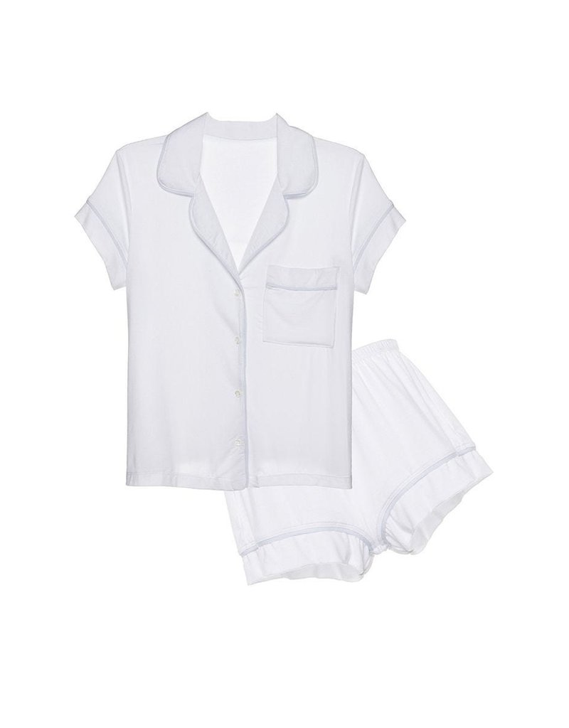 Eberjey Eberjey Gisele Short PJ Set White/Water Blue