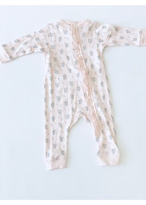 Feather Baby Feather Baby Zipper Romper with Ruffle Koalas on Coral