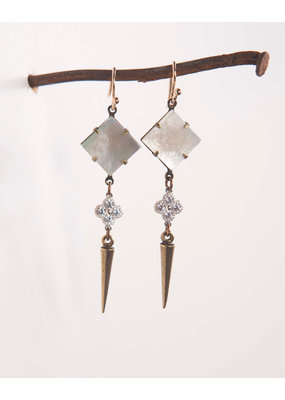 Mark Edge Mark Edge Mother of Pearl Shell/Sterling CZ/Brass Spike Earrings