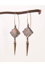 Mark Edge Mark Edge Black Tahiti Shell/Plated Gold Spike 2in Earrings