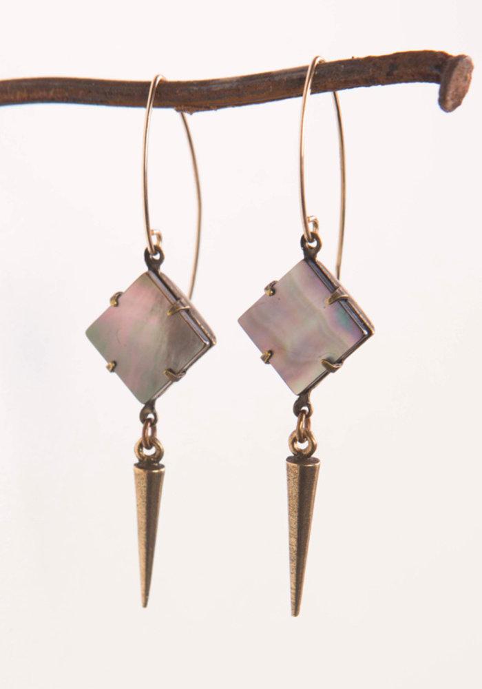 Mark Edge Black Tahiti Shell/Plated Gold Spike 2in Earrings