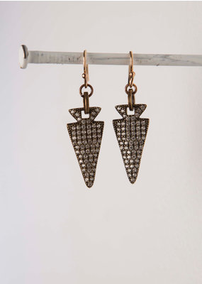 Mark Edge Mark Edge CZ Inlaid Pave Arrowhead/Bronze Earrings