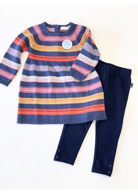 Jojo Mama JoJo Maman Bebe Girls' Indigo Fair Isle Stripe Dress and Legging Set