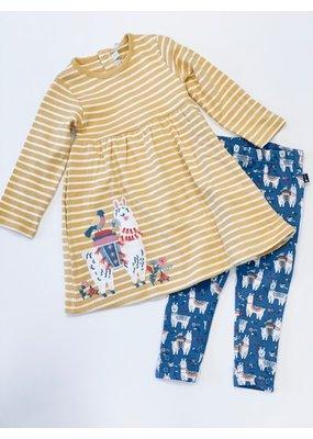 Jojo Mama JoJo Maman Bebe Girls Mustard Llama Applique Dress and Legging Set