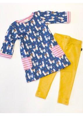 Jojo Mama JoJo Maman Girls' Blue Llama A-Line Dress and Legging Set