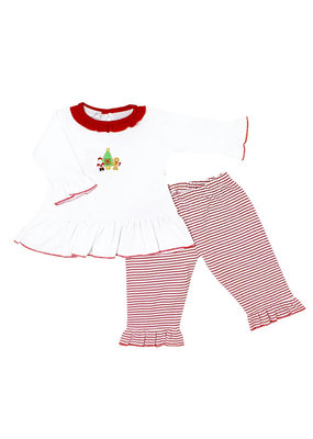 Magnolia Baby Magnolia Baby Cookies For Santa Embroidered Ruffle 2 piece Pant Set