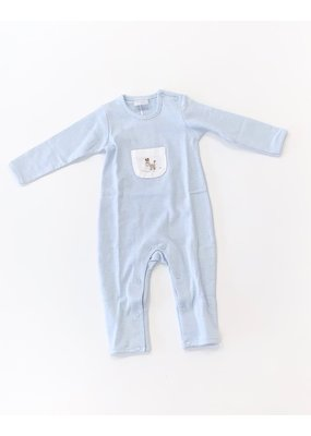 Squiggles Squiggles Knot Dog W/Bone Coverall Blue/White