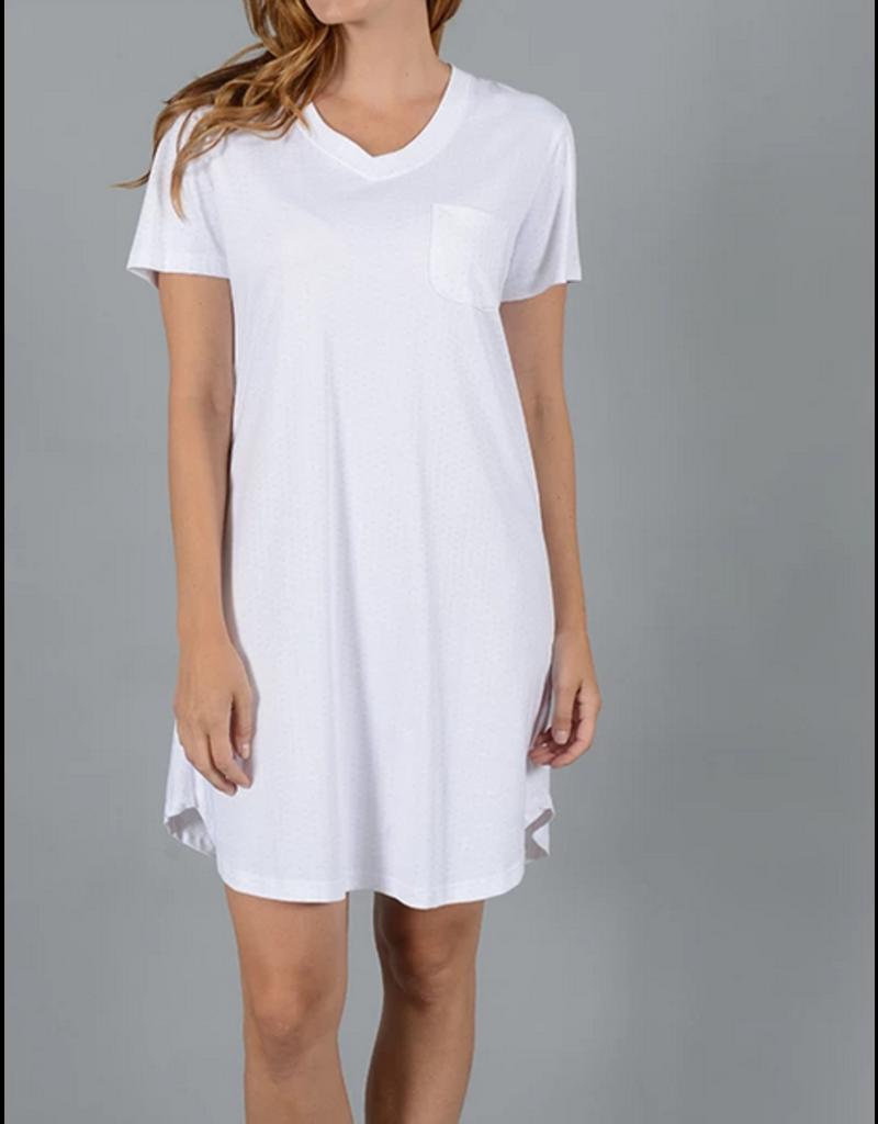 Cotn Cotn Polka Dot Short Sleeve V-Neck Nightshirt  White/Blue